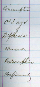 1879 causes of death, Bridgewater Township records