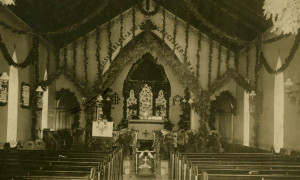 Interior of Holy Cross Church chapel in Dundas, decorated for Christmas, about 1890.