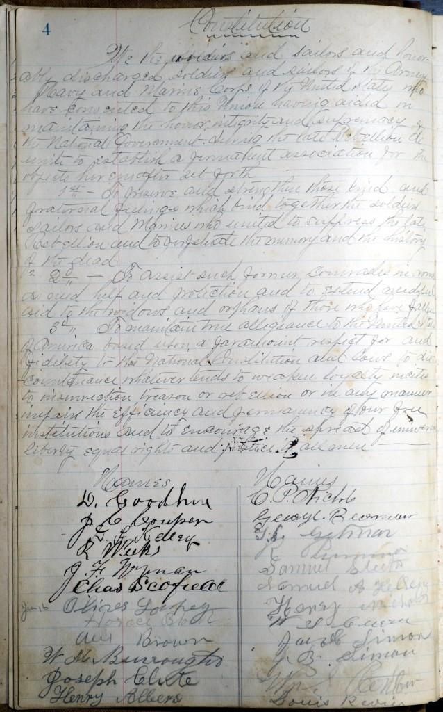 Constitution of Northfield's GAR post