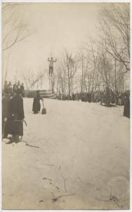 Anders Haugen jumping off the ski slide at St. Olaf College, January 15, 1913. St. Olaf College Archives.