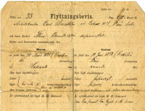 Migration form for Carl Berndtsson and Stina Berndtsdotter, dated April 25, 1882. View on NHC http://contentdm.carleton.edu/cdm/compoundobject/collection/CCPCA/id/1124/rec/29