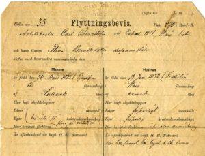 Migration form for Carl Berndtsson and Stina Berndtsdotter, dated April 25, 1882. View on NHC http://contentdm.carleton.edu/cdm/compoundobject/collection/CCPCA/id/1124/rec/29