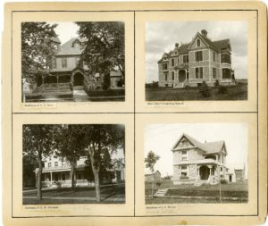 Page 5 from the Views of Northfield book, including the residences of C. A. Drew, C. W. Blodgett, J. F. Revier, as well as Miss Baker's Boarding School.