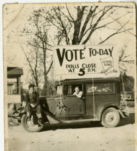 Vote Today sign on a car, 1930s Northfield