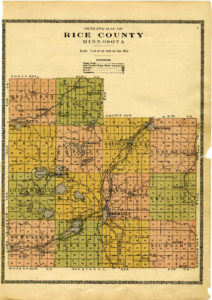 Outline Map of Rice County 1915