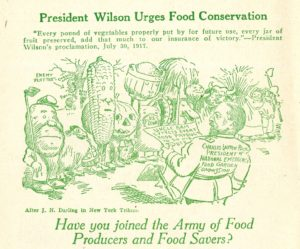 Cartoon of produce joining the Army of Food Producers and Food Savers, 1917