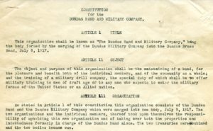 Excerpt from the Dundas Band and Military Company Constitution, adopted July 18, 1918