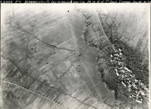 Aerial photograph of trenches and shell holes near Bernwiller in the Alsace region, c. 1918