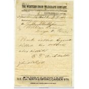 Telegram about the robbery, September 7, 1876