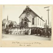 Congregation and St. Olaf Band at St. John's Lutheran Church, 1899