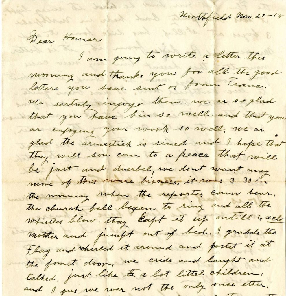 Letter from George Mason to Homer Mason, November 27, 1918
