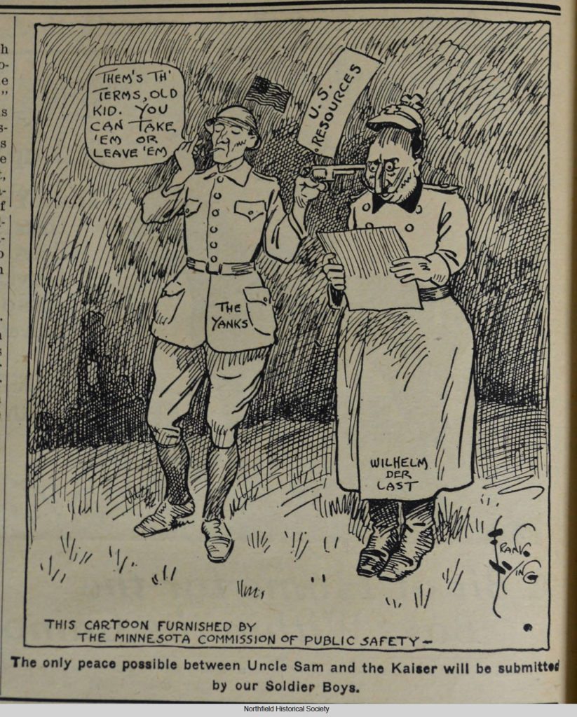 Northfield News cartoon, published Nov. 8, 1918
