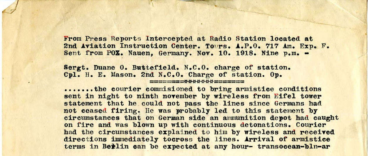 Press Report, delivery of Armistice terms, Nov. 10, 1918