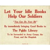 Poster urging people to donate books to soldiers, 1918