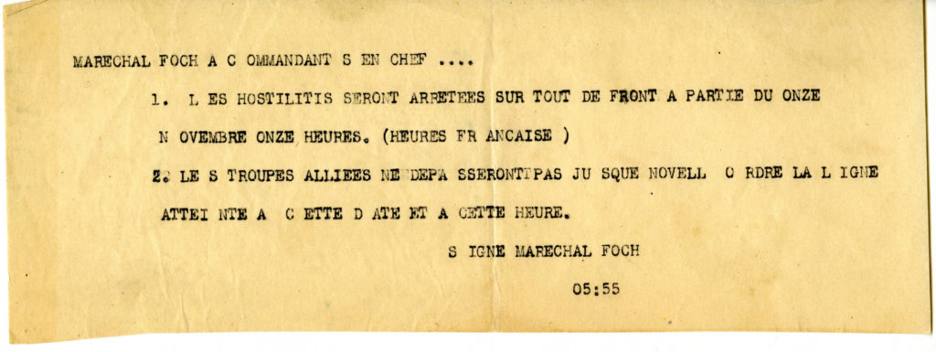 Order from Marshal Foch, November 11, 1918