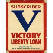 V for Victory window sticker, 1918-1919