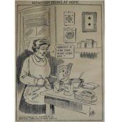 """Northfield News cartoon, """"Patriotism begins at Home,"""" 1918"""